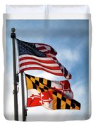 Us And Maryland Flags Duvet Cover