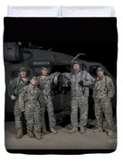 U.s. Army Crew Chiefs Pose In Front Duvet Cover