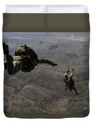 U.s. Army Soldiers Conduct A Halo Jump Duvet Cover