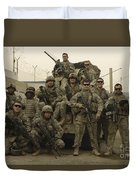 U.s. Army Soldiers Pose For A Photo Duvet Cover
