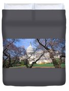 Us Capitol Building And Cherry Duvet Cover