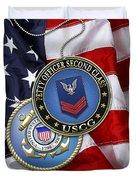U. S. Coast Guard Petty Officer Second Class - Uscg Po2 Rank Insignia Over Us Flag Duvet Cover