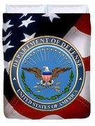 U. S. Department Of Defense - D O D Emblem Over U. S. Flag Duvet Cover