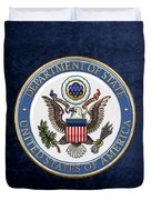 U. S. Department Of State - D O S Emblem Over Blue Velvet Duvet Cover
