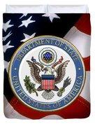 U. S. Department Of State - Dos Emblem Over U.s. Flag Duvet Cover