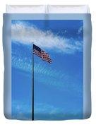 Us Flag At Liberty Island Duvet Cover