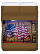 Us Flag On Side Of Freight Engine Duvet Cover