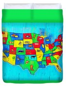 Us Map With Theme  - Free Style -  - Pa Duvet Cover