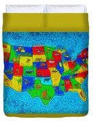 Us Map With Theme  - Special Finishing -  - Pa Duvet Cover