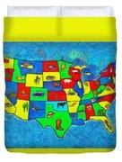 Us Map With Theme  - Van Gogh Style -  - Da Duvet Cover
