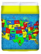 Us Map With Theme  - Van Gogh Style -  - Pa Duvet Cover