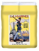 U.s. Marines Active Service On Land And Sea Duvet Cover