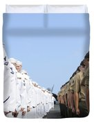 U.s. Marines And Sailors Stand Duvet Cover