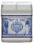 Us Naval Academy Postage Stamp Duvet Cover