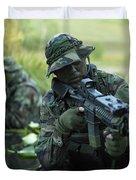 U.s. Navy Seals Cross Through A Stream Duvet Cover
