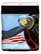 Usa Flag Bomber Wwii  Duvet Cover