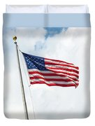 Usa Flag On Blue Sky With Clouds Duvet Cover