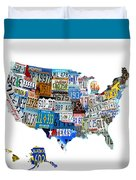 Usa License Plates Map 4p Duvet Cover