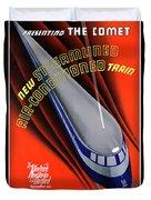 Usa The Comet Vintage Travel Poster Restored Duvet Cover