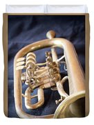 Used Old Trumpet. Vertically. Duvet Cover