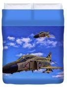 Usn F-4 Phantom II Over Vietnam - Oil Duvet Cover