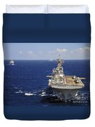 Uss Boxer Leads A Convoy Of Ships Duvet Cover