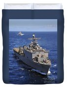 Uss Comstock Leads A Convoy Of Ships Duvet Cover