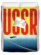 Ussr Vintage Cruise Travel Poster Restored Duvet Cover
