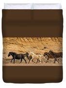 Ute Mountain Wild Horses On The Run Duvet Cover