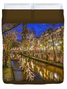 Utrecht Old Canal By Night Duvet Cover