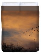 V Formation At Sunset  Duvet Cover