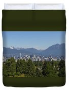 Vancouver Bc City Skyline And Mountains View Duvet Cover
