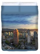 Vancouver Bc Cityscape At Sunset Duvet Cover
