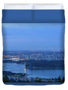 Vancouver Bc Cityscape During Blue Hour Dawn Duvet Cover