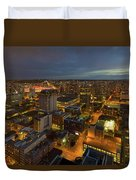 Vancouver Bc Cityscape During Evening Twilight Duvet Cover
