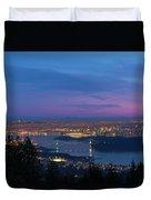 Vancouver Bc Cityscape Lions Gate Bridge Sunset Duvet Cover