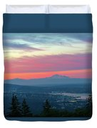 Vancouver Bc Cityscape With Cascade Range Morning View Duvet Cover