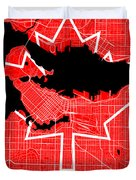 Vancouver Street Map - Vancouver Canada Road Map Art On Canada Flag Symbols Duvet Cover