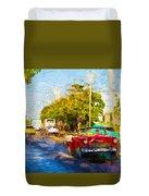 Vintage Cars In Varadero Duvet Cover