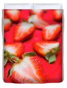 Various Sliced Strawberries Close Up Duvet Cover