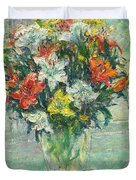 Vase Lilies Painting Duvet Cover
