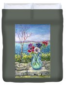 Vase Of Anemones With View Of Nafplio Duvet Cover