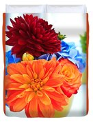 Vase Of Colorful Flowers Duvet Cover