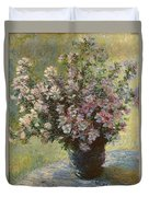 Vase Of Malva Flowers, 1880 Duvet Cover