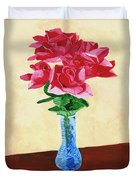 Vase Of Red Roses Duvet Cover