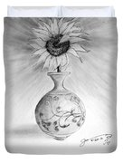 Vase With One Sunflower Duvet Cover