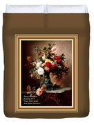 Vase With Roses And Other Flowers L A With Alt. Decorative Ornate Printed Frame. Duvet Cover