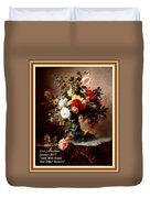 Vase With Roses And Other Flowers L A With Decorative Ornate Printed Frame. Duvet Cover