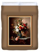 Vase With Roses And Other Flowers L B With Alt. Decorative Ornate Printed Frame. Duvet Cover