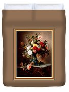 Vase With Roses And Other Flowers L B With Decorative Ornate Printed Frame. Duvet Cover